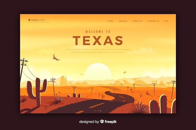 Добро пожаловать на целевую страницу техаса Бесплатные векторы