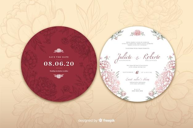 結婚式招待状のシンプルなデザインコンセプト 無料ベクター