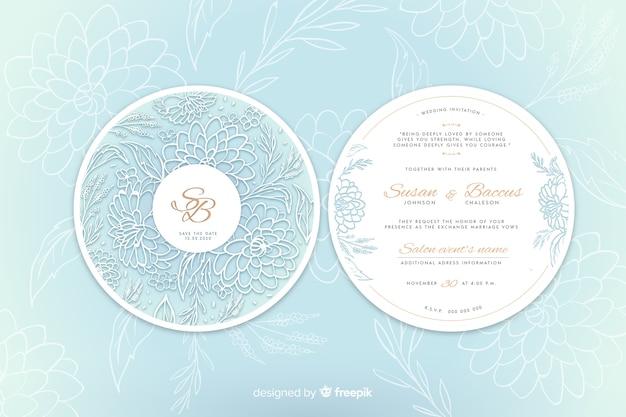 花を持つシンプルな結婚式の招待状 無料ベクター