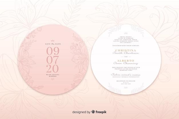 Розовое свадебное приглашение с простым дизайном Бесплатные векторы