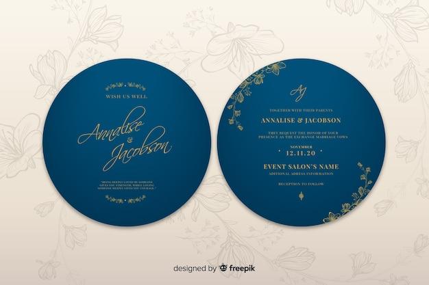 シンプルなデザインの青い結婚式招待状 無料ベクター