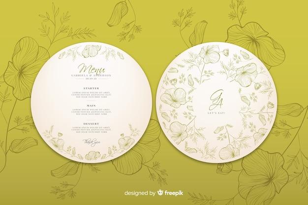 手描きの花と円形の結婚式の招待状 無料ベクター