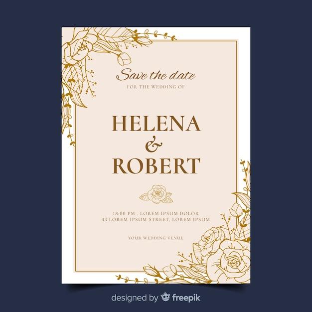 黄金の結婚式の招待状のテンプレート 無料ベクター