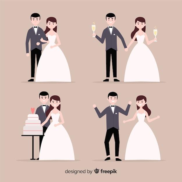 結婚式のカップルコレクション 無料ベクター
