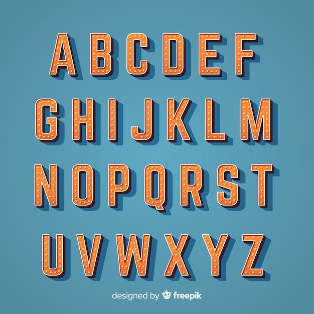 ヴィンテージスタイルのアルファベット 無料ベクター