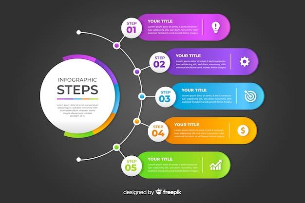 Профессиональные шаги инфографики Бесплатные векторы