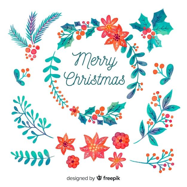 Цветочный гнев для рождественского украшения в акварельном дизайне Бесплатные векторы