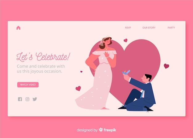 Веб-дизайн шаблона для свадебной целевой страницы Бесплатные векторы