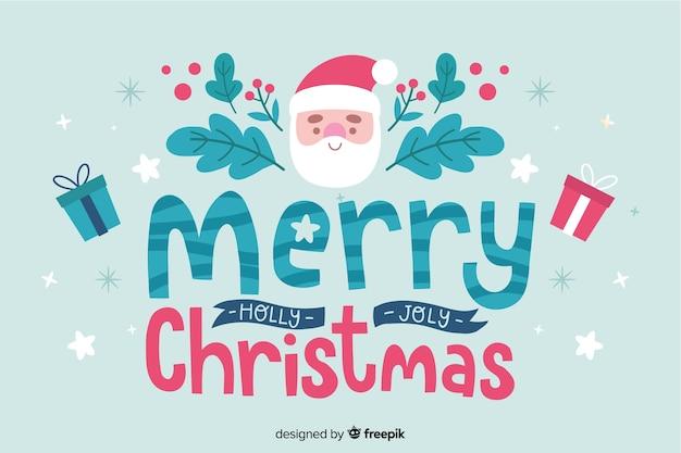 Рождество надписи санта и текст пожеланий Бесплатные векторы