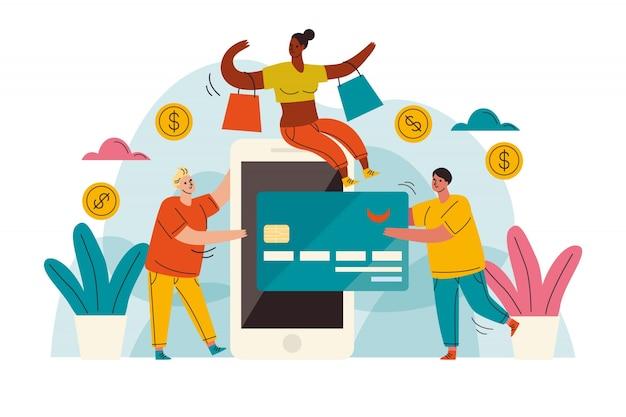 Концепция целевой страницы оплаты кредитной картой Бесплатные векторы