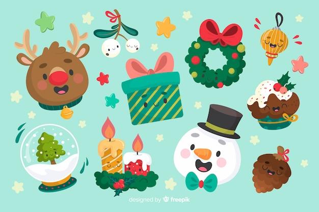 青色の背景にクリスマス要素のコレクション 無料ベクター