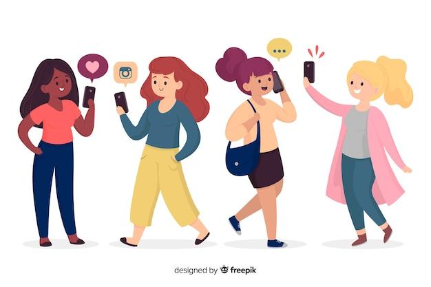 Молодые люди держат смартфон иллюстрации Бесплатные векторы