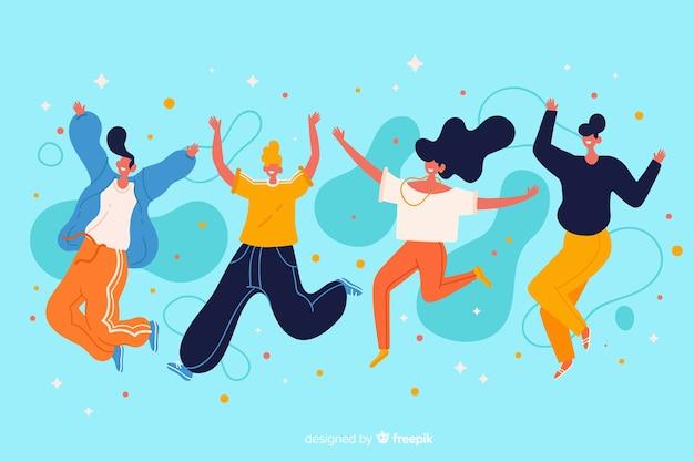 Молодые люди прыгают вместе иллюстрации Бесплатные векторы