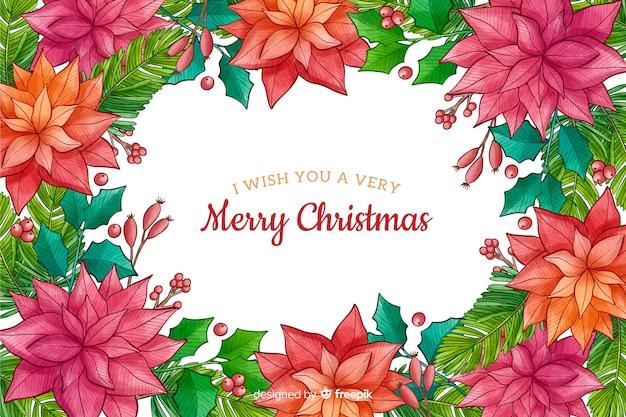 植物と水彩のクリスマス背景 無料ベクター