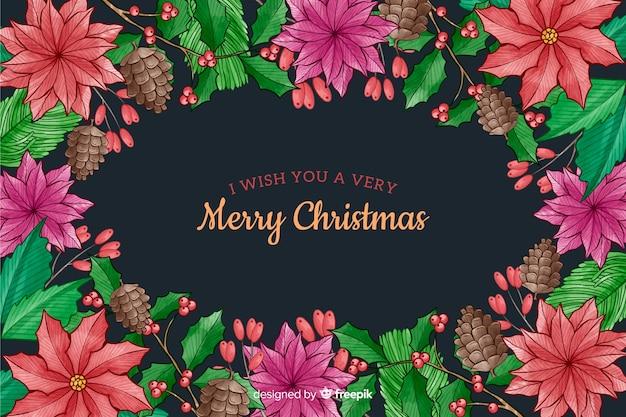 Рождественский фон с цветами акварель стиль Бесплатные векторы