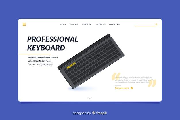 Дизайн целевой страницы для профессиональных клавиатур Бесплатные векторы