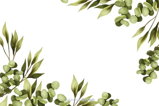 コピースペースを持つ緑塗られた葉フレーム 無料ベクター