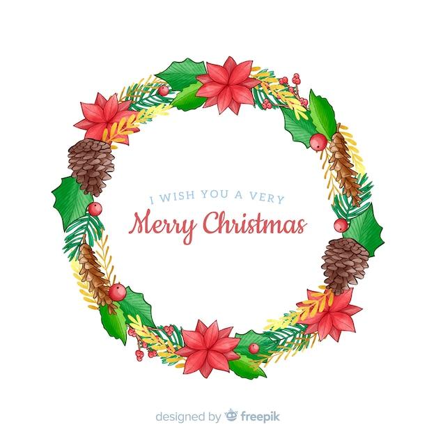 Рождественский венок с шишками Бесплатные векторы