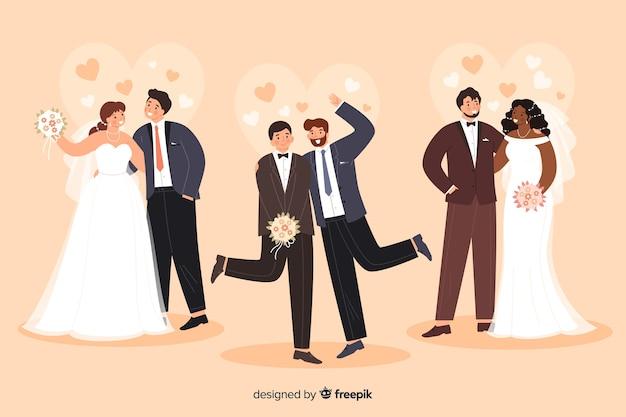 Коллекция свадебной пары в плоском дизайне Бесплатные векторы