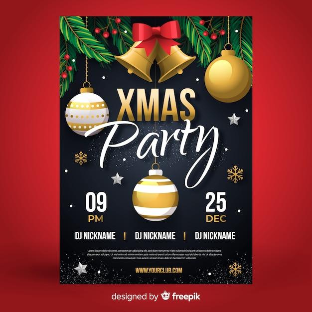クリスマスパーティーポスターテンプレートフラットなデザインスタイル 無料ベクター