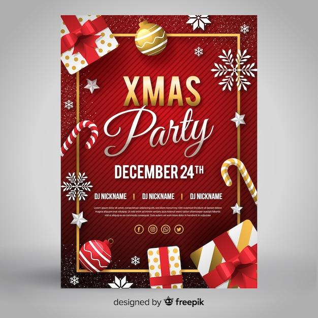 フラットデザインクリスマスパーティーフライヤーテンプレート 無料ベクター