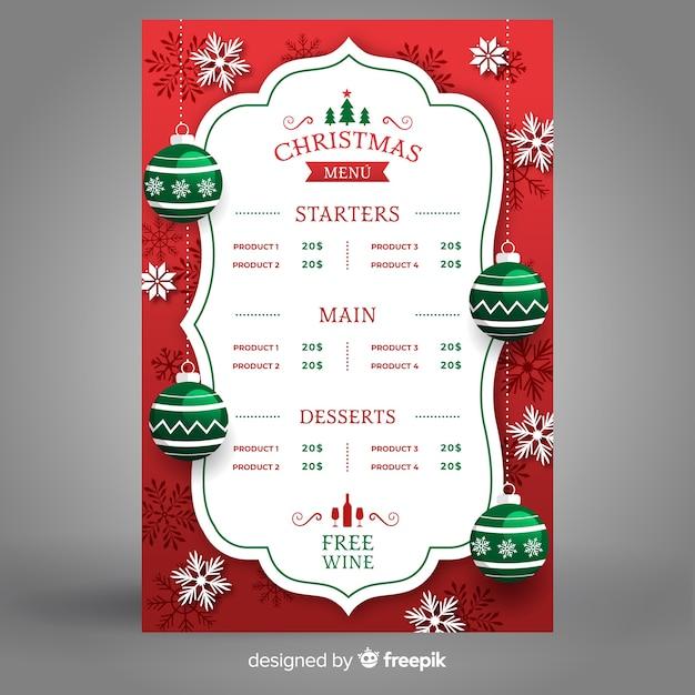 クリスマスメニューテンプレートフラットなデザインスタイル 無料ベクター