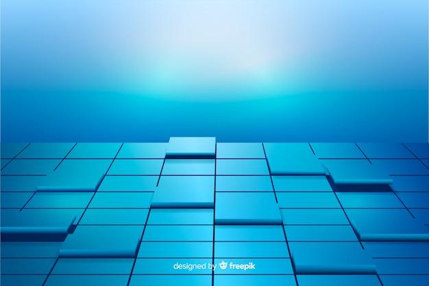 Синие реалистичные кубики пола фон Бесплатные векторы