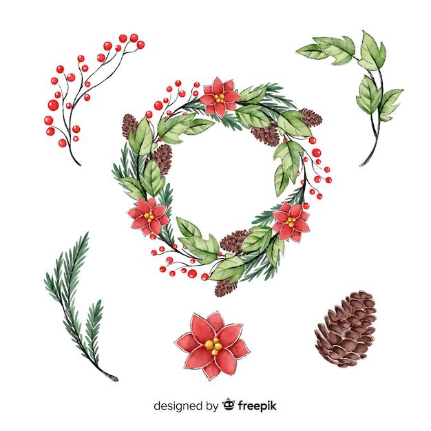 Рождественский венок коллекция в стиле акварели Бесплатные векторы