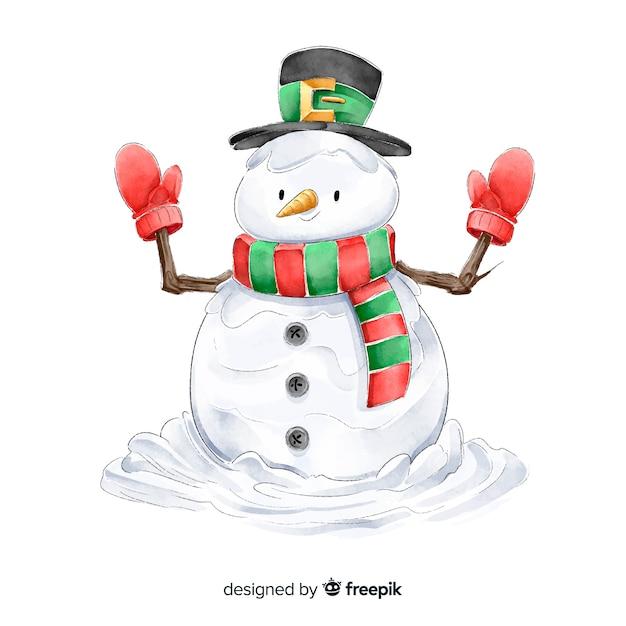 Акварель снеговик рождественская коллекция символов Бесплатные векторы