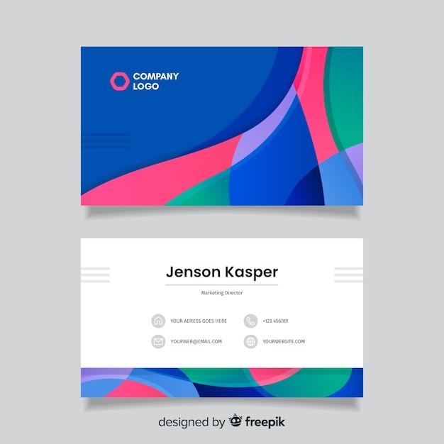 Шаблон визитной карточки с красочным фоном Бесплатные векторы