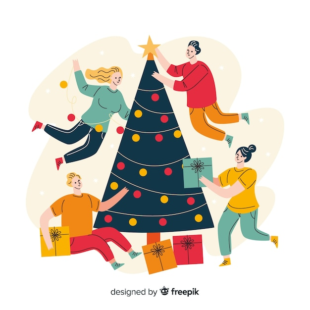 フラットなクリスマスツリーと飾る人 無料ベクター