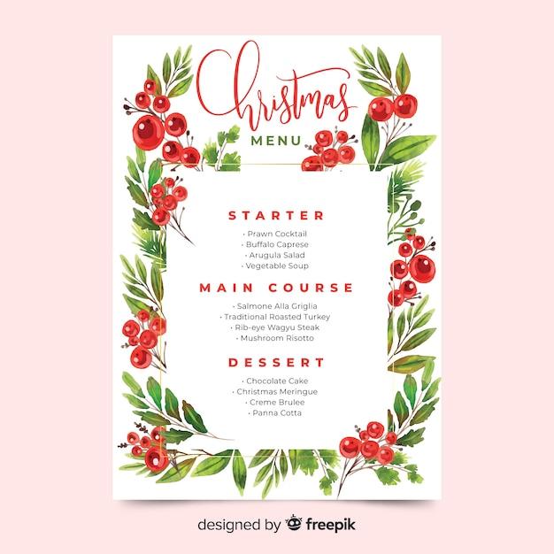 ピンクの背景の水彩画のクリスマスメニューテンプレート 無料ベクター