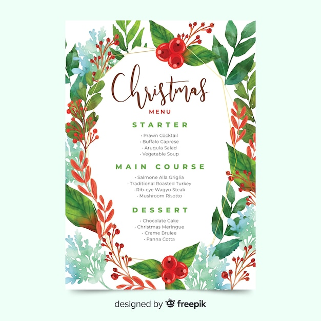 Шаблон меню акварель рождество и зеленые листья Бесплатные векторы