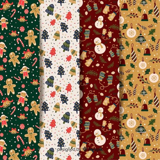 クリスマスパターンフラットデザインコレクション 無料ベクター