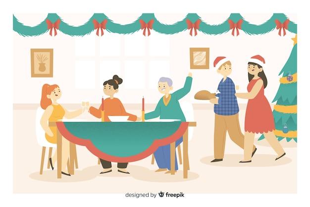 クリスマスディナーのために集まって幸せな家族漫画 無料ベクター