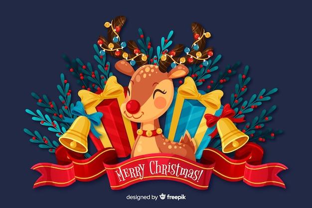 フラットクリスマス背景とかわいい鹿 無料ベクター