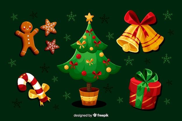 Плоская рождественская коллекция элементов с деревом Бесплатные векторы