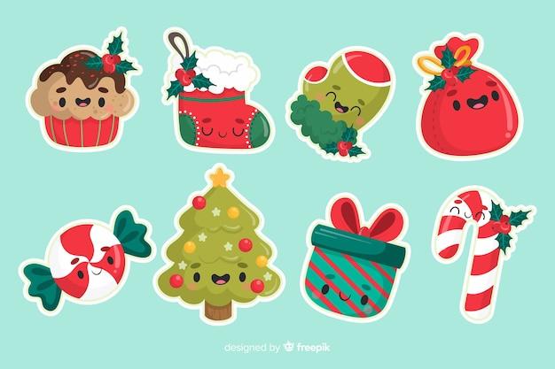 シンプルなクリスマスツリーデコレーションセット 無料ベクター
