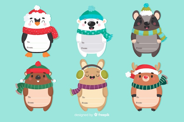 スカーフと面白いクリスマス動物キャラクター 無料ベクター