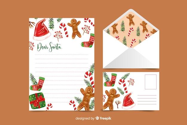 ジンジャーブレッドと水彩のクリスマス文房具テンプレート 無料ベクター