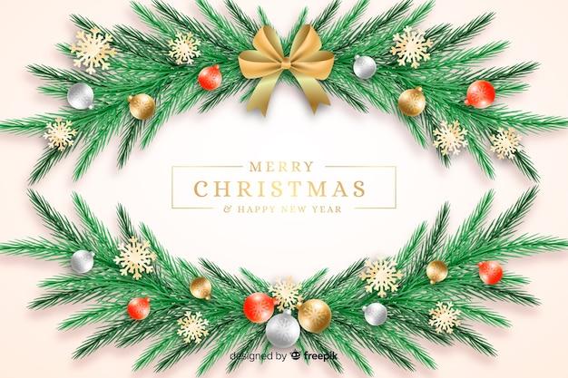 Рождественский фон с венком Бесплатные векторы