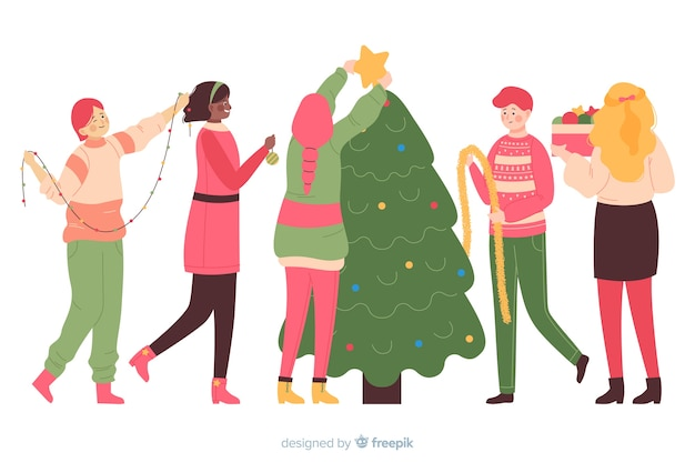 一緒にクリスマスツリーを飾る人々 無料ベクター