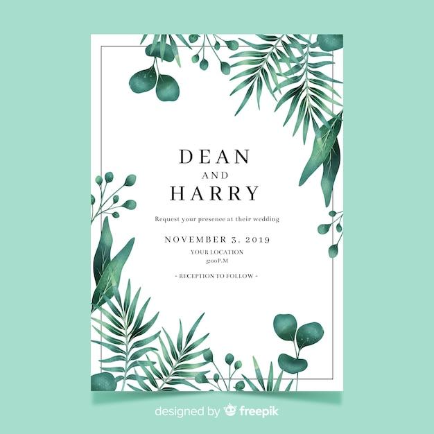 水彩葉で結婚式の招待状のテンプレート 無料ベクター