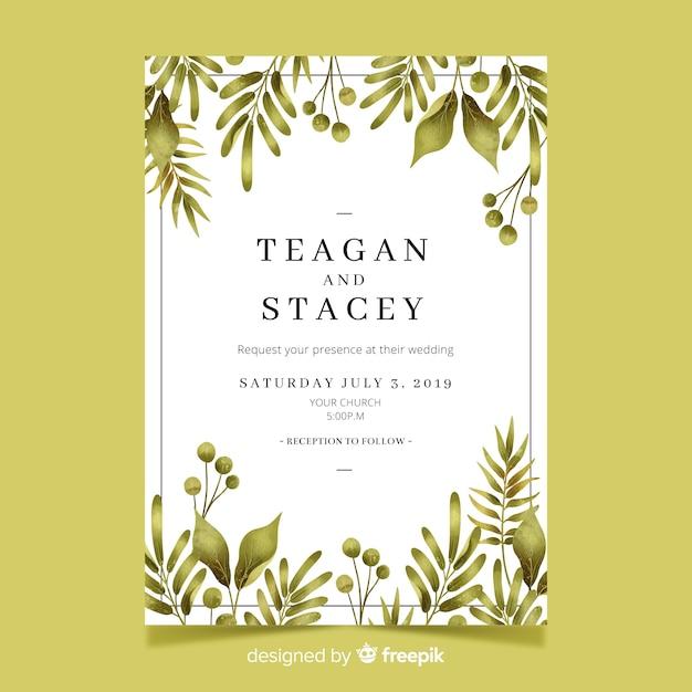 Симпатичные свадебные приглашения шаблон с акварельными листьями Бесплатные векторы