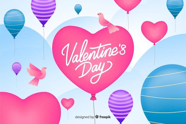 День святого валентина фон с шарами и птицами Бесплатные векторы
