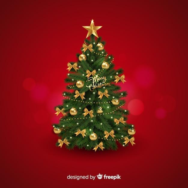現実的なクリスマスツリーの背景 無料ベクター