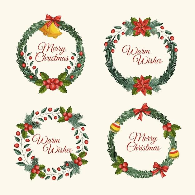 手描きクリスマスフラワー&リースコレクション 無料ベクター
