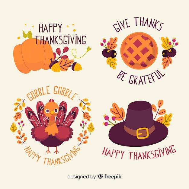 手描き感謝祭バッジコレクション 無料ベクター