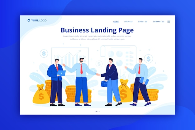 テンプレートのビジネスランディングページのコンセプト 無料ベクター