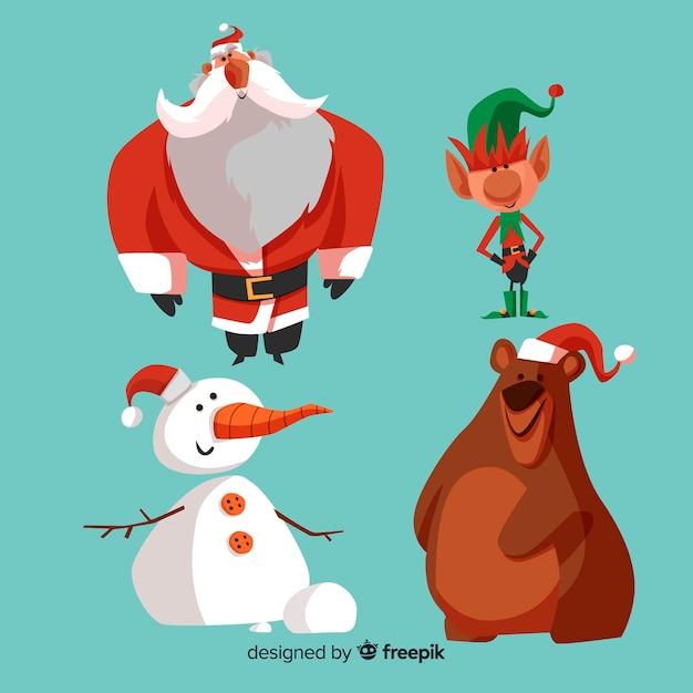 Сборник мультяшных рождественских персонажей Бесплатные векторы